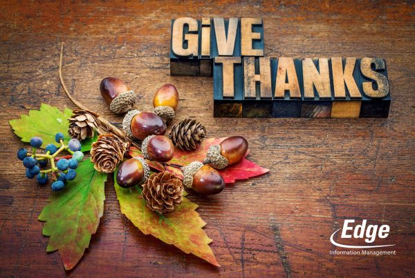 give thanks - Thanksgiving concept - text in letterpress wood type printing blocks with cone, acorn, leaf and berries fall decoration