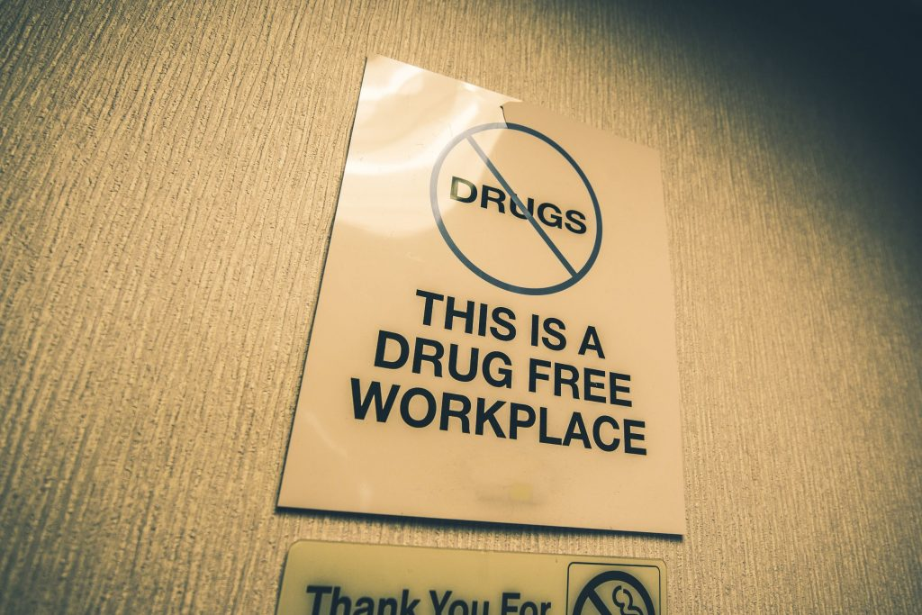 Drug Free Workplace Office Sign. Drugs Prohibited.